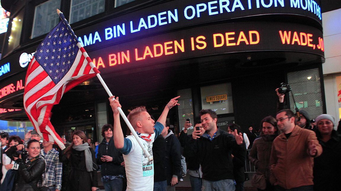 Crowds celebrate Osama Bin Laden's death in the US