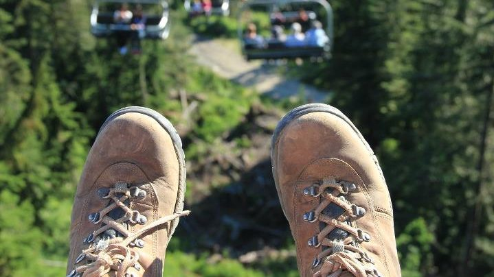 Hiking boots on Grouse Mountain