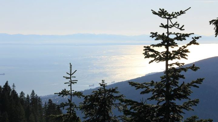 View from Grouse Mountain to Vancouver Island