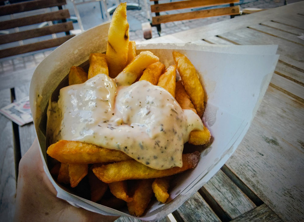 Belgian frites with homemade tartare sauce at Maison Antoine, Brussels (Jenni Sheppard)
